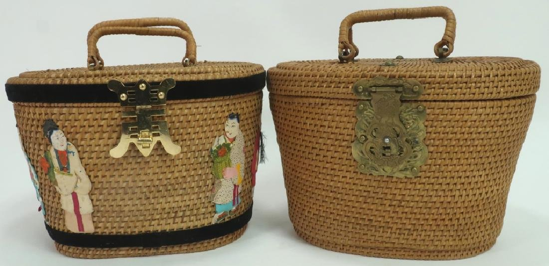2 Vintage Chinese Rattan Handled Baskets