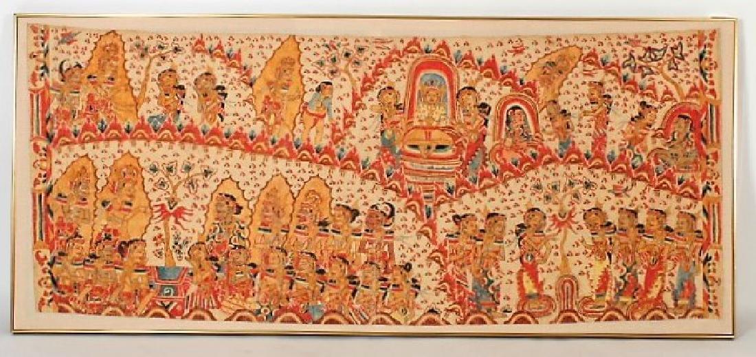 Indonesian Folk Painting of Buddha w Disciples