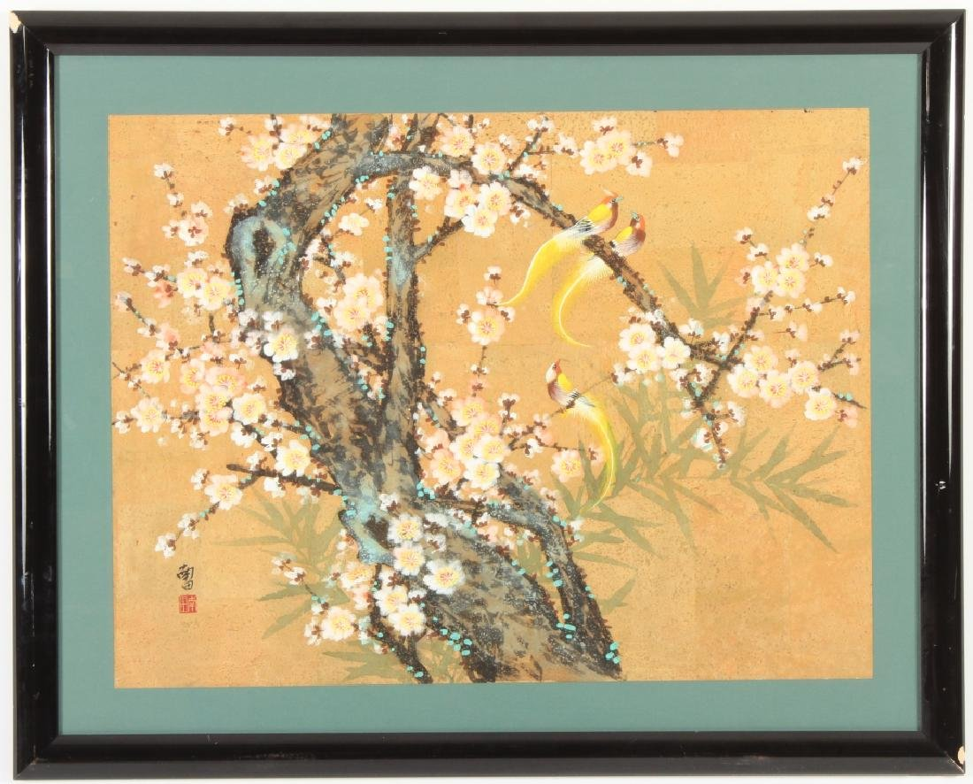 Asian Flowering Tree Exotic Birds Gouache on Cork