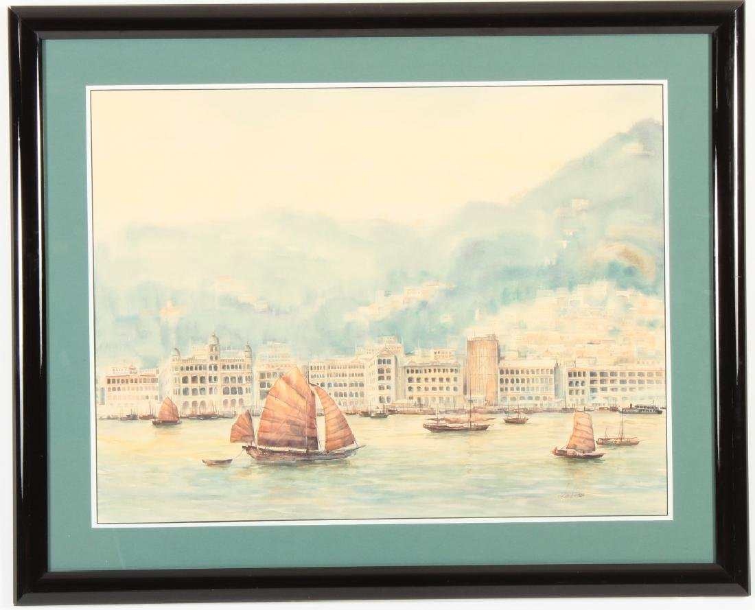 "Lee Yung-Han b 1936 ""Oriental Harbor"" W/C c.1970"