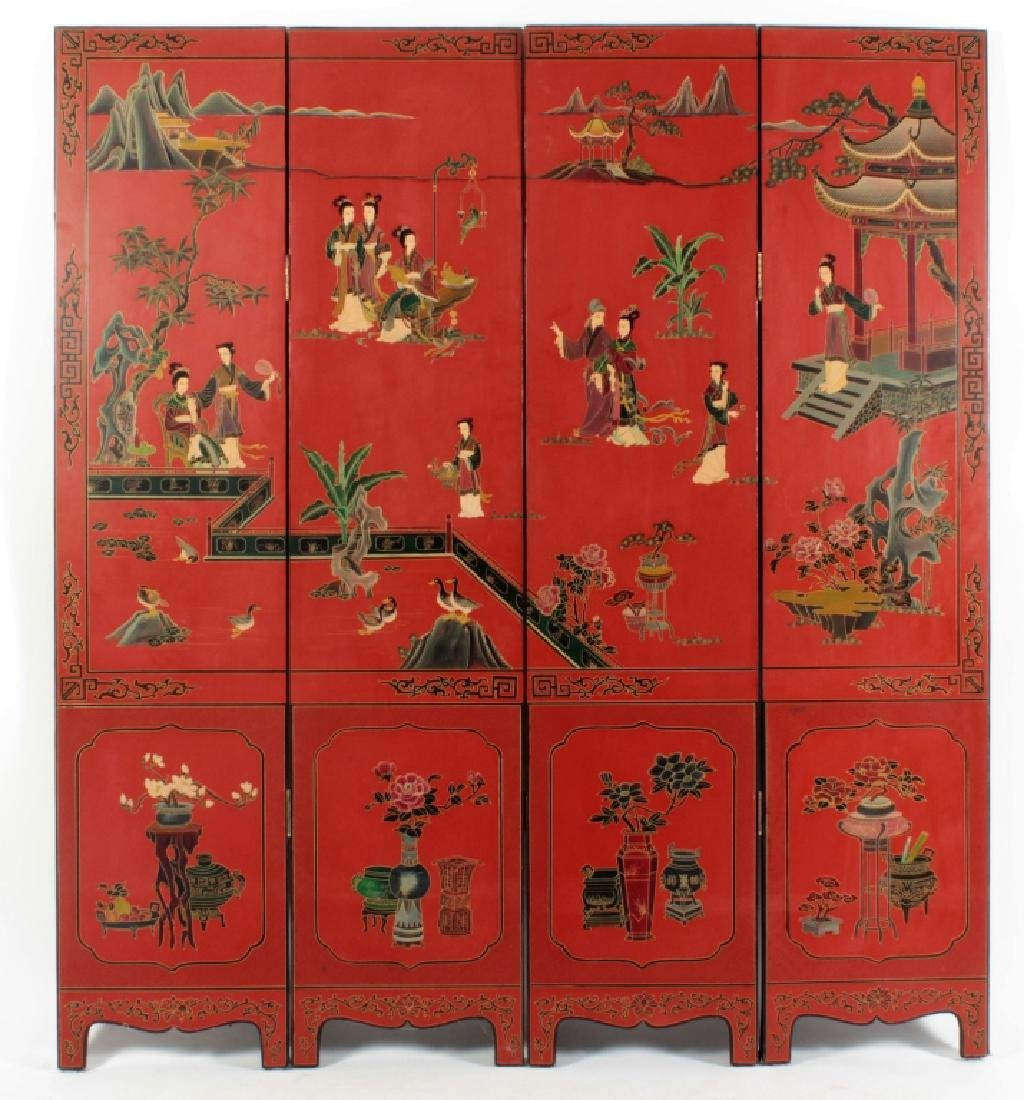 4 Panel Asian Painted Screen