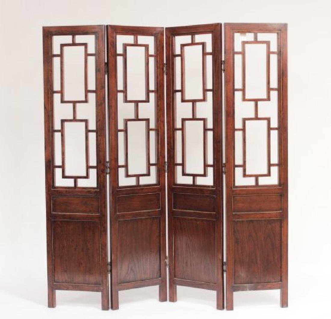 Asian Hard Wood Four Panel Screen