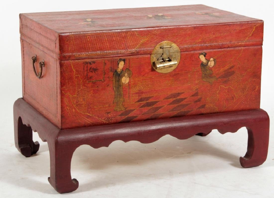 Chinese Lacquered & Painted Pigskin Chest 19th c.