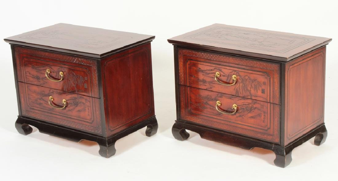 2 Drexel Heritage Asian Style 2 Drawer Chests