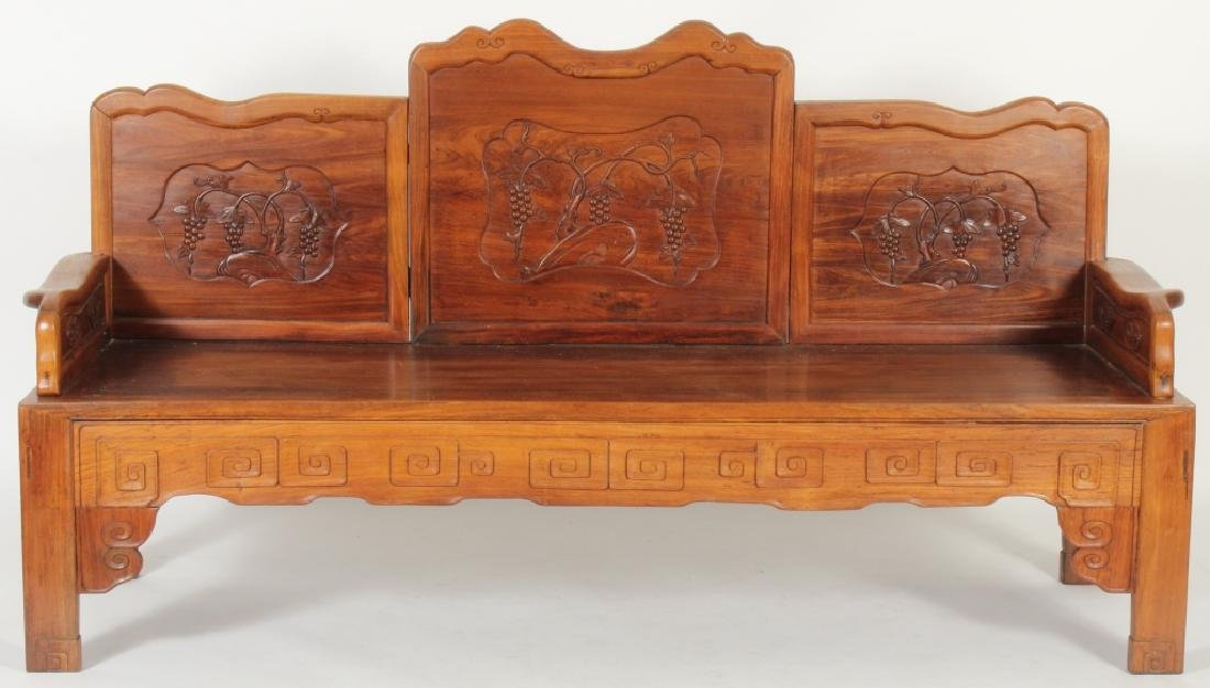 Chinese Settee with Carved Back and Plank Seat