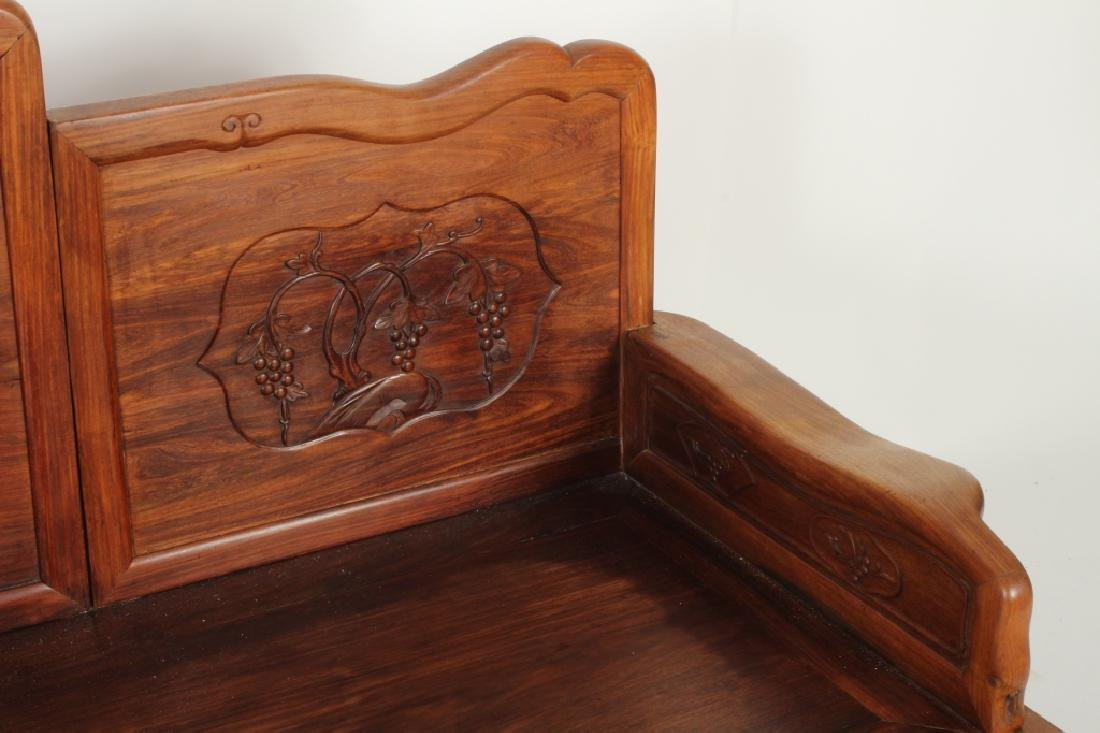 Chinese Settee with Carved Back and Plank Seat - 4