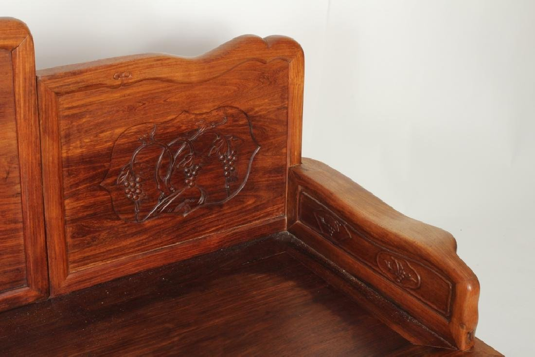 Chinese Settee with Carved Back and Plank Seat - 5