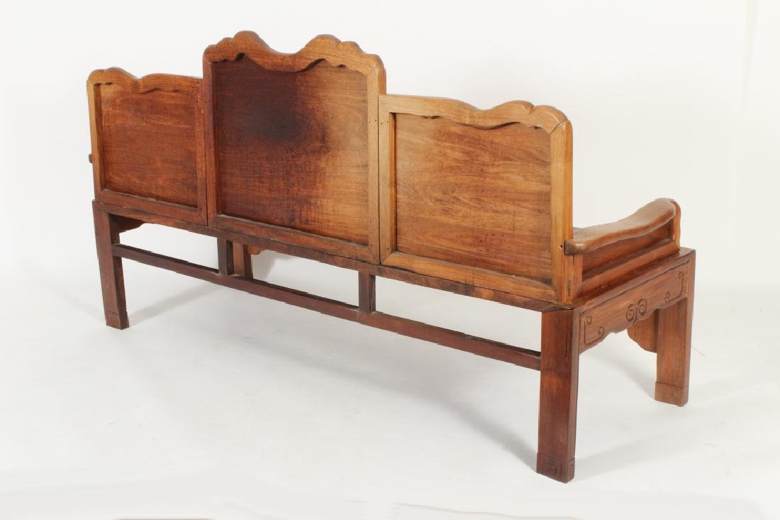 Chinese Settee with Carved Back and Plank Seat - 7