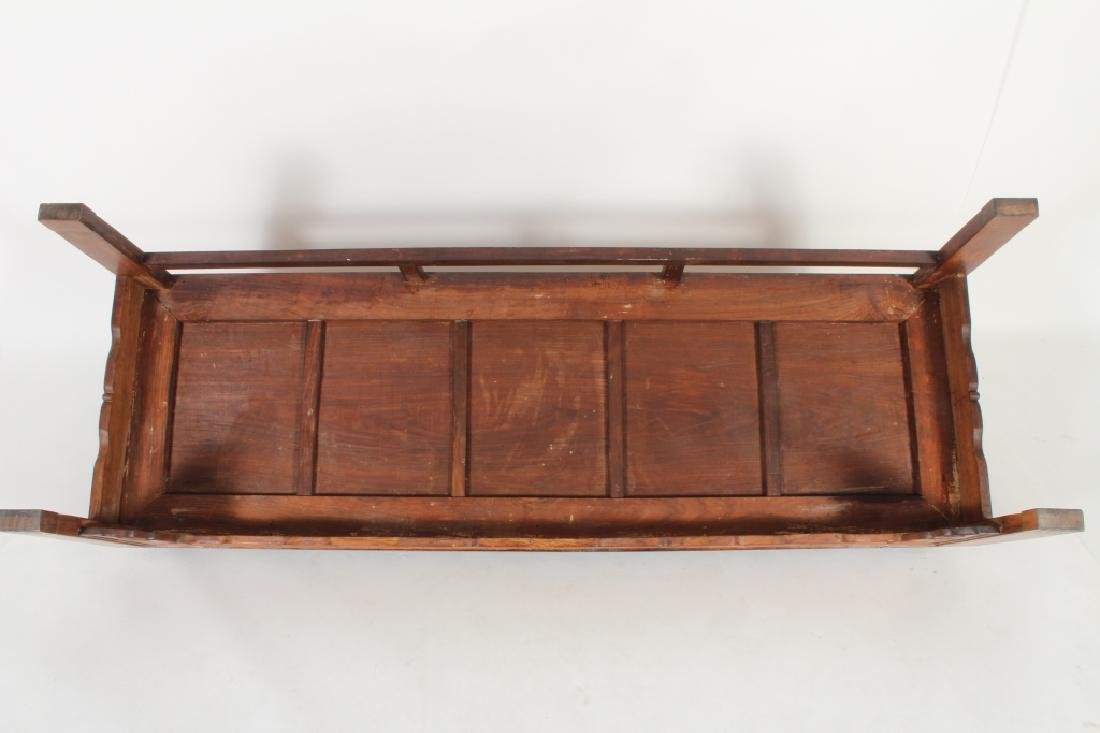 Chinese Settee with Carved Back and Plank Seat - 8