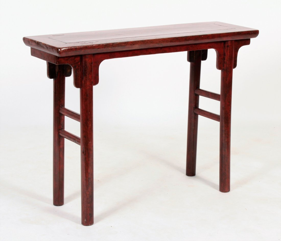 Asian Altar Table Red Laquered Wood