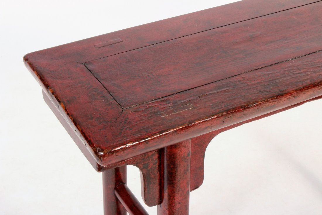 Asian Altar Table Red Laquered Wood - 2