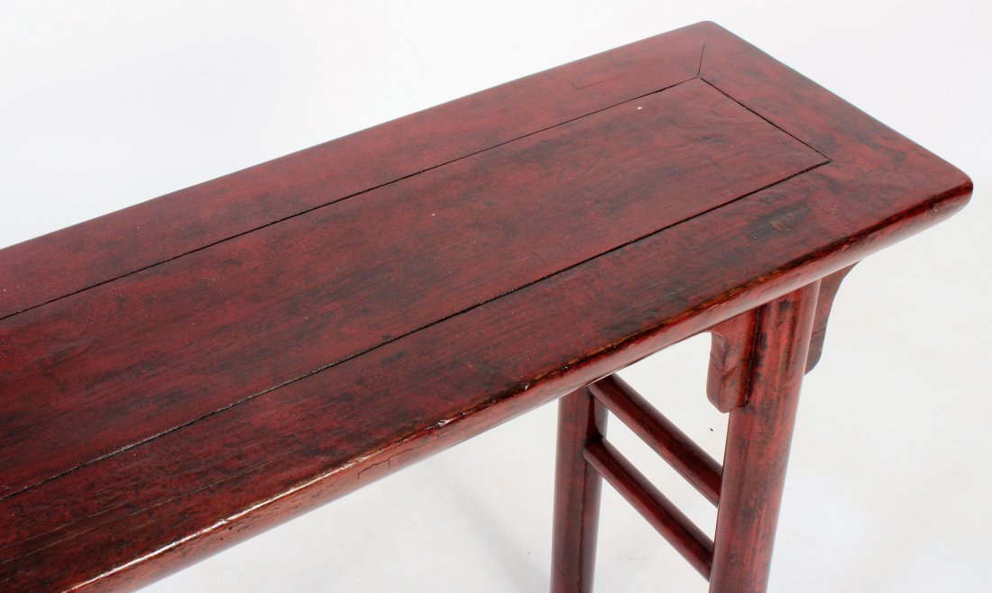 Asian Altar Table Red Laquered Wood - 3