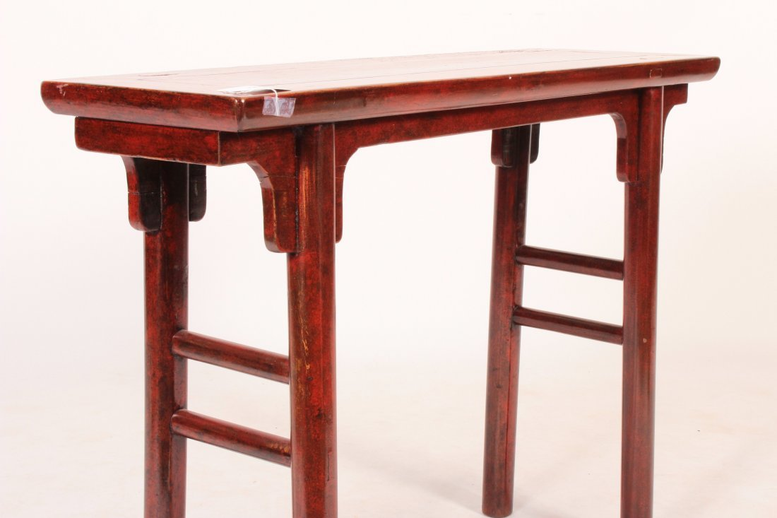 Asian Altar Table Red Laquered Wood - 4