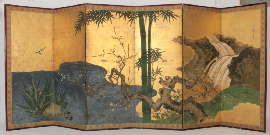 Kano School Japanese 6 Panel Screen, 18th c