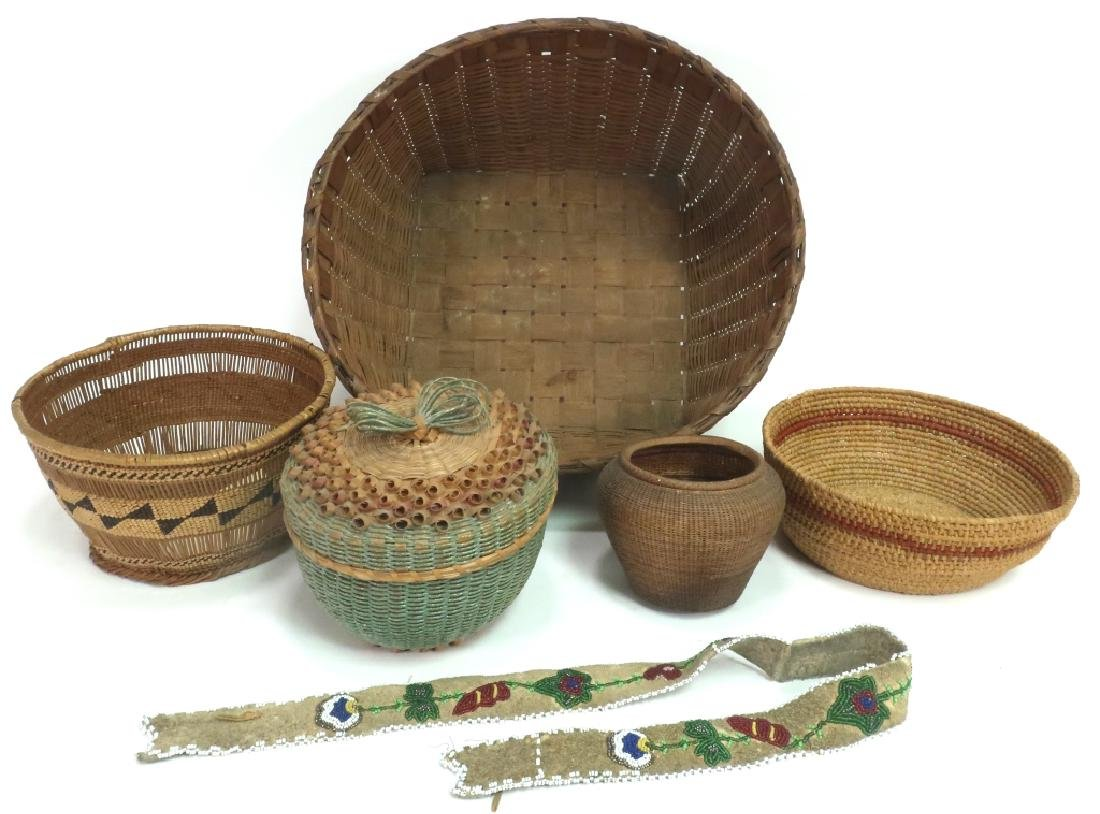 Vintage Native American Baskets & Beadwork.