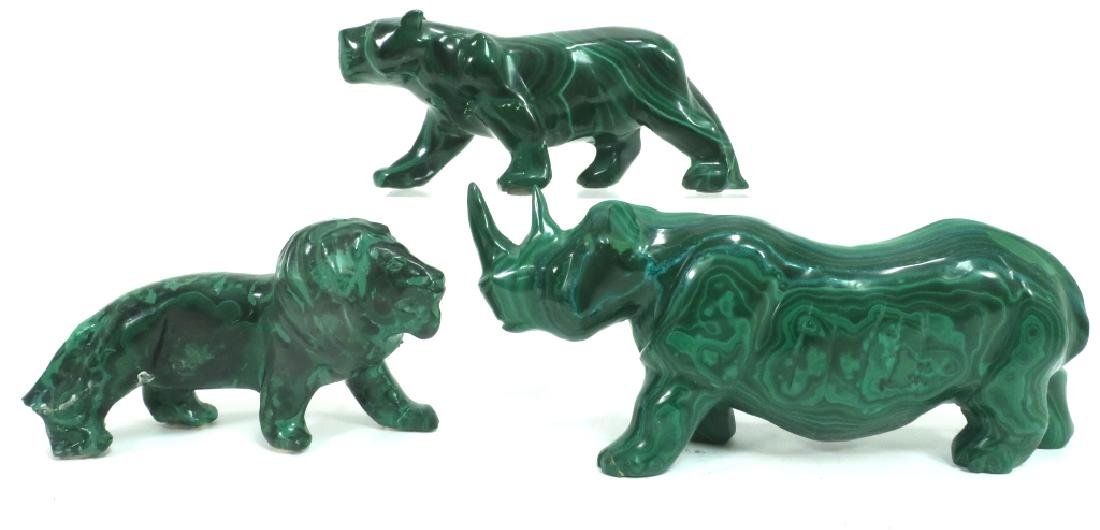 Lot of 3 Carved Malachite Animals