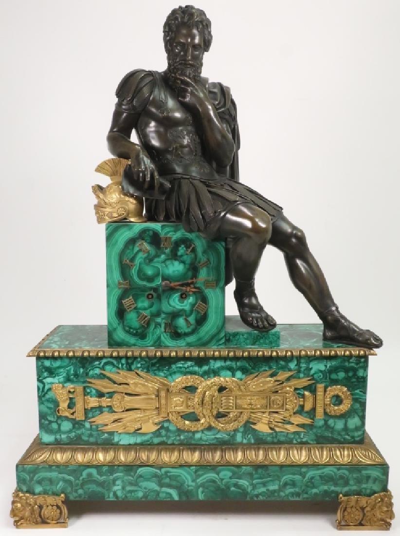 Massive Gilt Bronze & Malachite French Clock, 1820