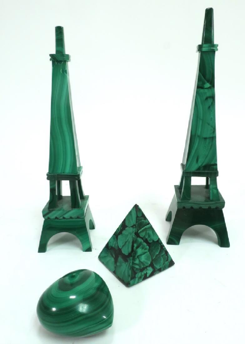 Lot of 4: Malachite Decorative Items