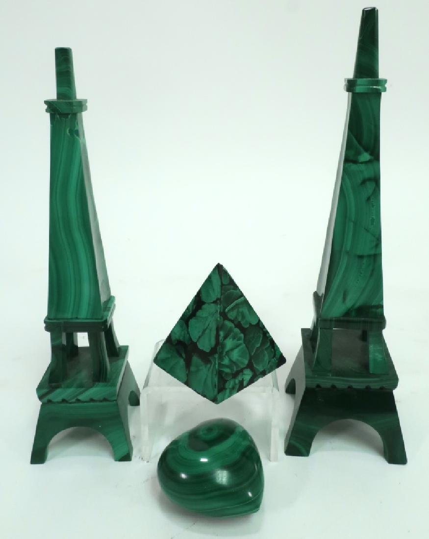 Lot of 4: Malachite Decorative Items - 2