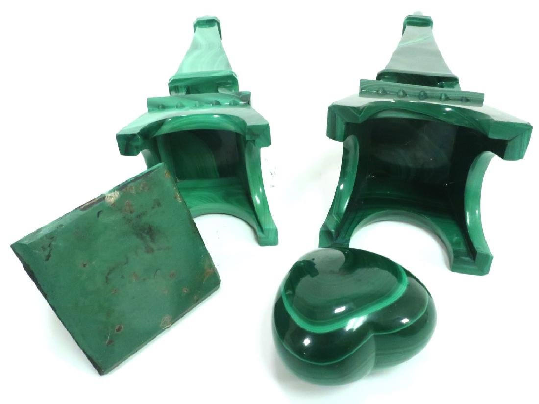 Lot of 4: Malachite Decorative Items - 7
