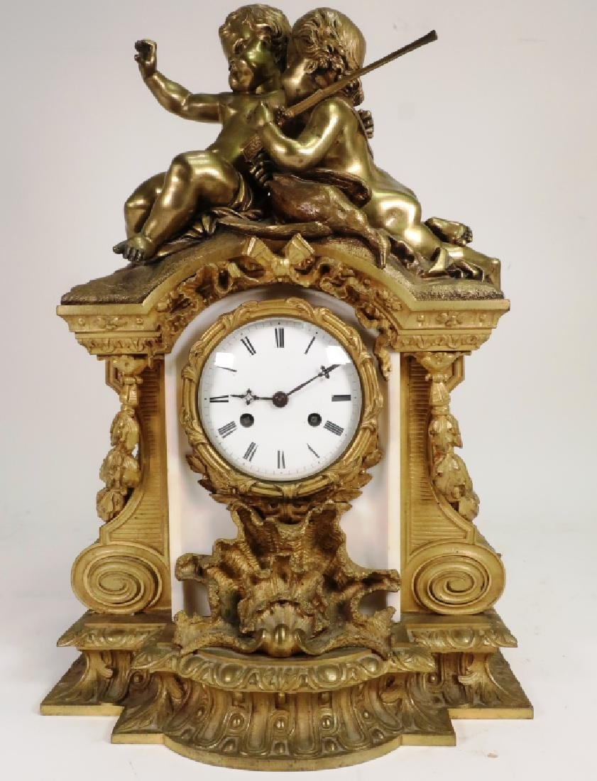 French Gilt Bronze White Marble Clock w Putti