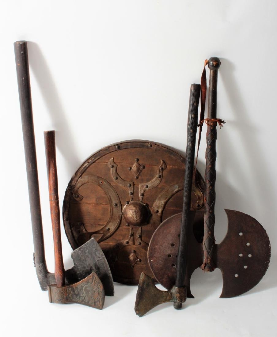 Reproduction Medieval Weapons 4 Axes & a Shield