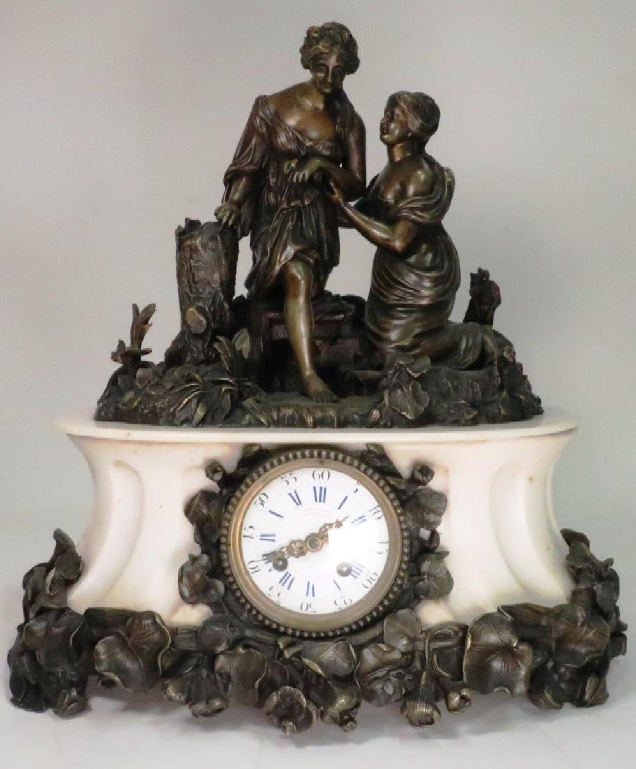 French Bronze Figural w White Marble Mantle ClocK