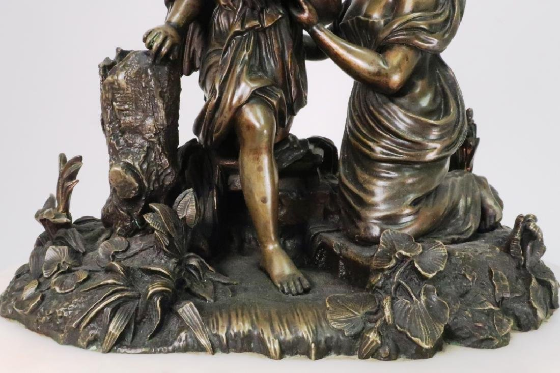 French Bronze Figural w White Marble Mantle ClocK - 4