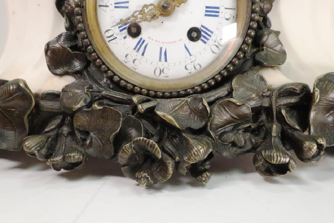 French Bronze Figural w White Marble Mantle ClocK - 5