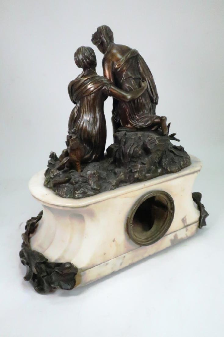 French Bronze Figural w White Marble Mantle ClocK - 7