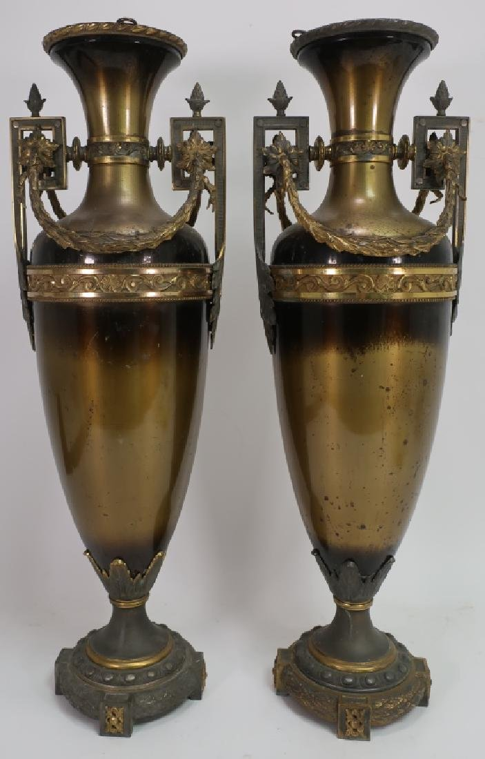 Pair of Neoclassical Metal Tall Urns