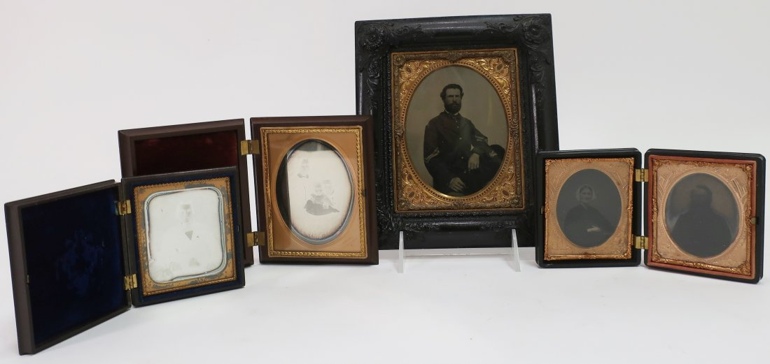 4 Daguerreotype/Ambro/Tintype Photos in Good Frames, CW