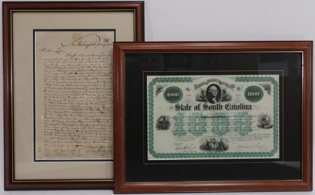 1782 Letter to Aaron Lopez, Newport & 1869 Bond
