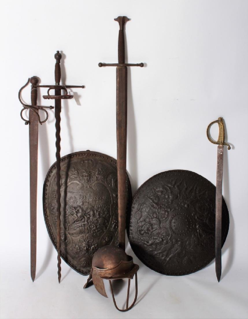 Medieval Repro Weapons: 4 Swords, Helmet, Shield