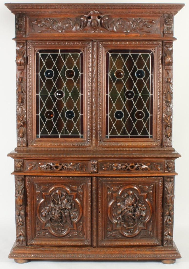 19th c. Oak Two Part Hunt Cabinet, Heavily Carved