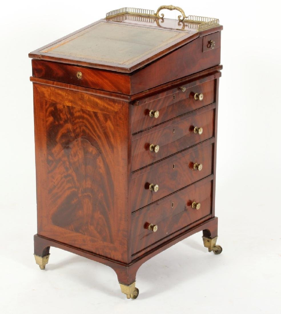 Regency Flame Mahogany Davenport Desk, 19th c.