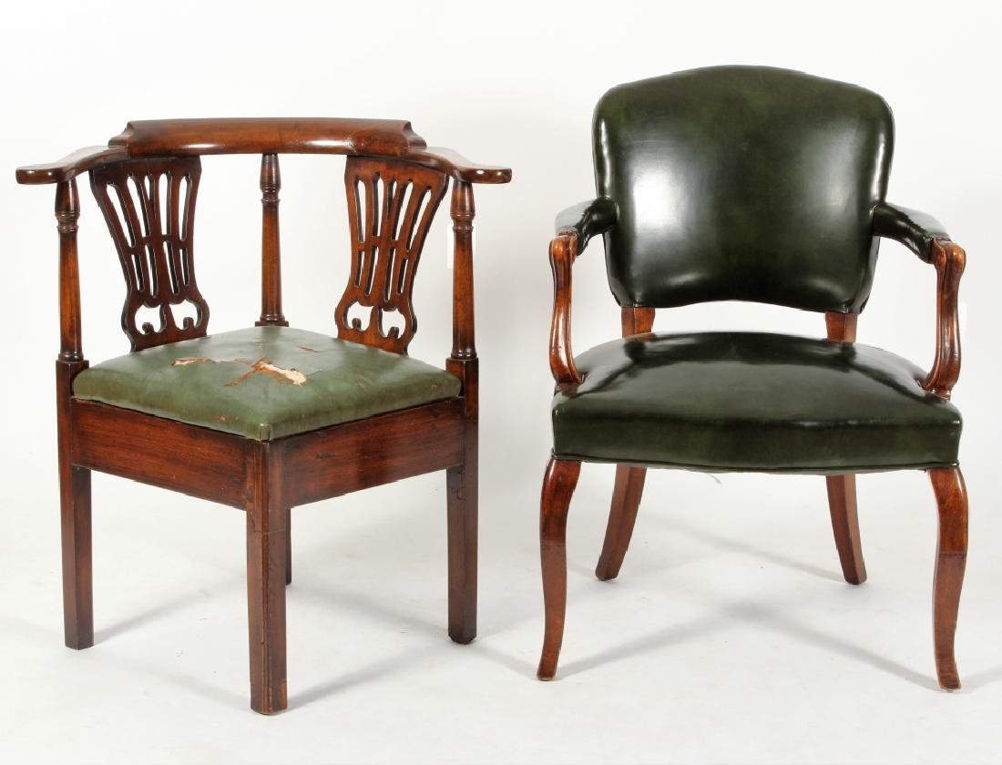 Lot of 2 Regency Corner Chair 19th c & an Armchair