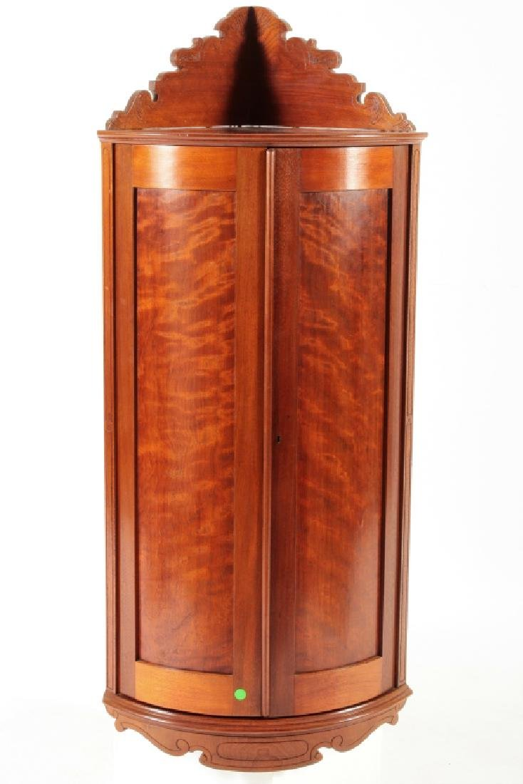 Victorian Corner Cabinet, Flame Mahogany, 19th C.