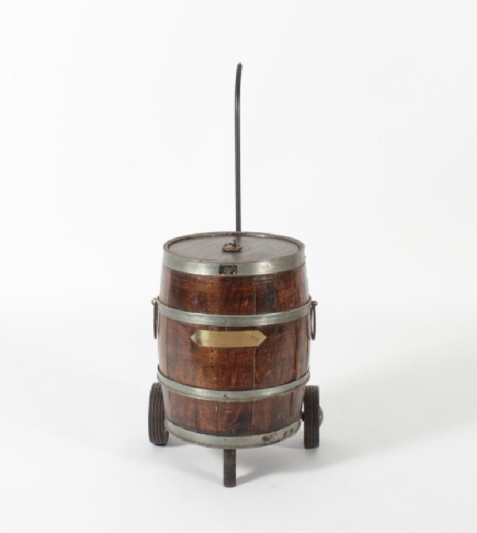 Vintage Santiq Oak Barrel Cooler on Cart