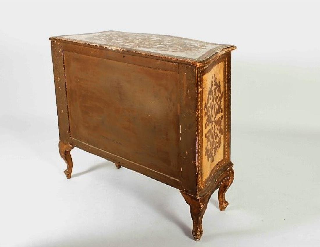Italian Paint Decorated and Gilt 3 Drawer Commode - 6