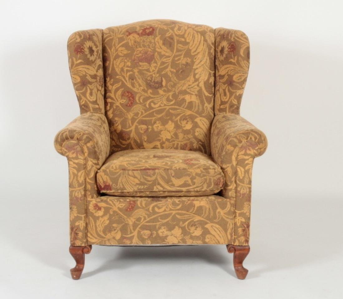 Queen Anne Style Wing Chair Chenille Animal Floral