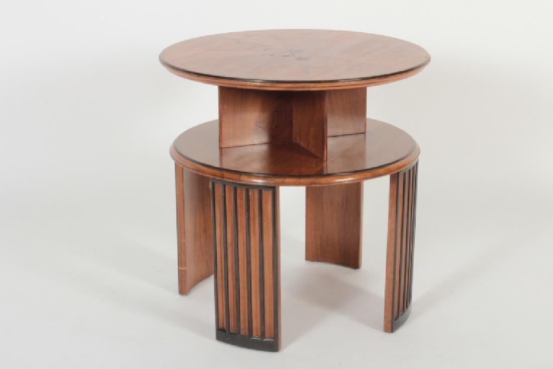 Deco Side Table Walnut & Burl Marquetry Star Burst