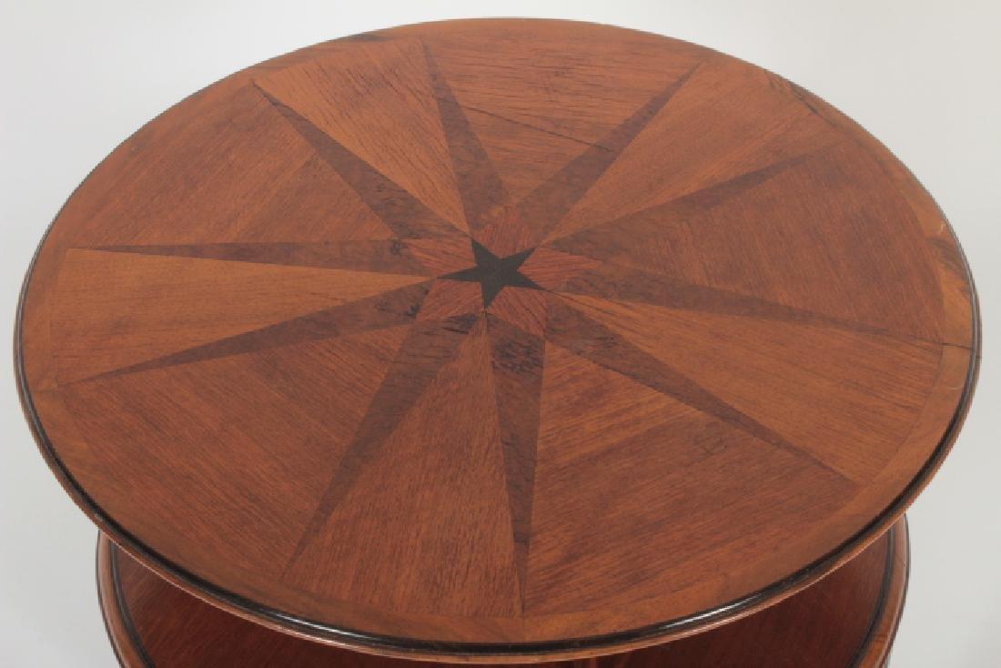 Deco Side Table Walnut & Burl Marquetry Star Burst - 2