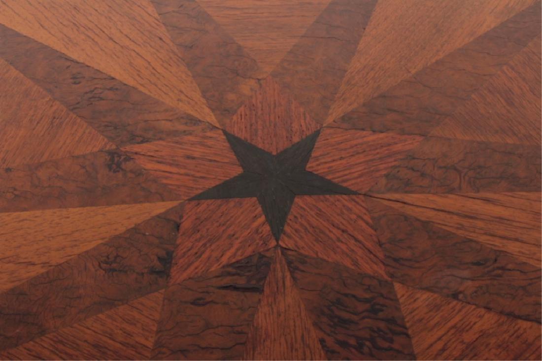 Deco Side Table Walnut & Burl Marquetry Star Burst - 3