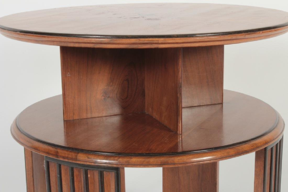 Deco Side Table Walnut & Burl Marquetry Star Burst - 4