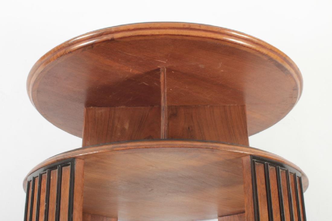 Deco Side Table Walnut & Burl Marquetry Star Burst - 6