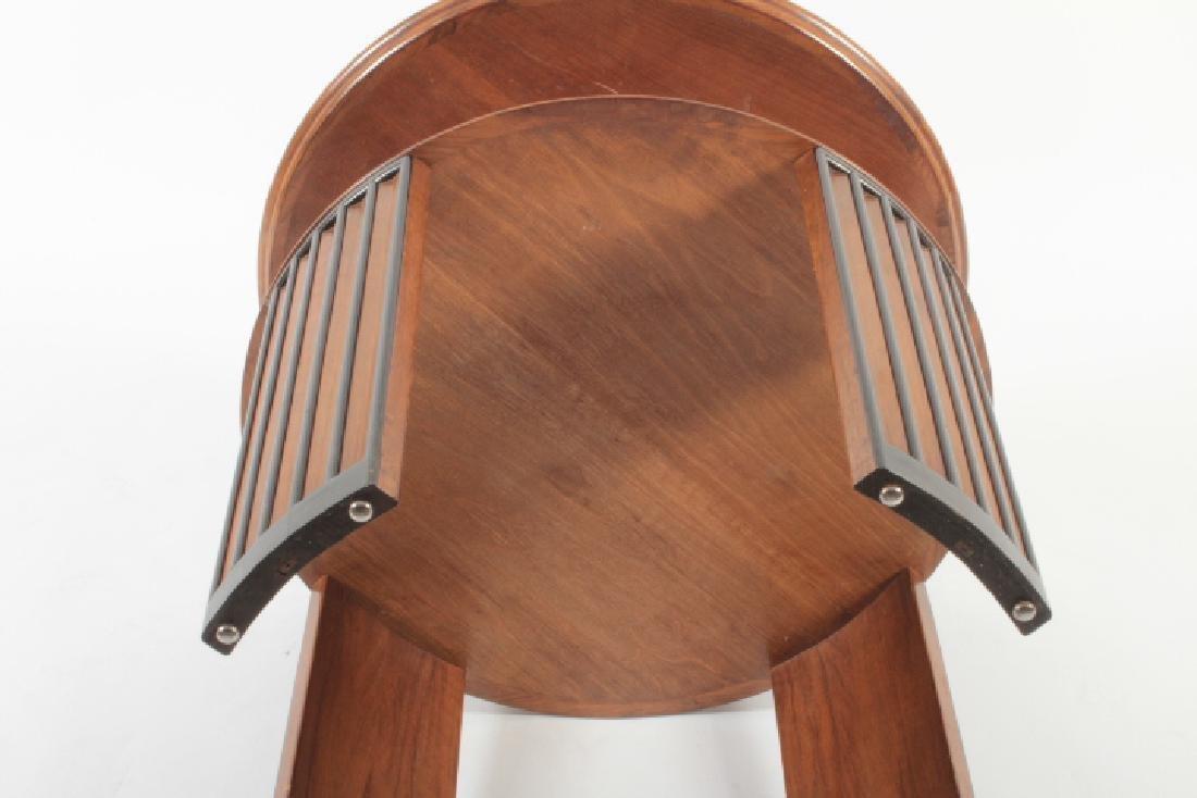Deco Side Table Walnut & Burl Marquetry Star Burst - 7