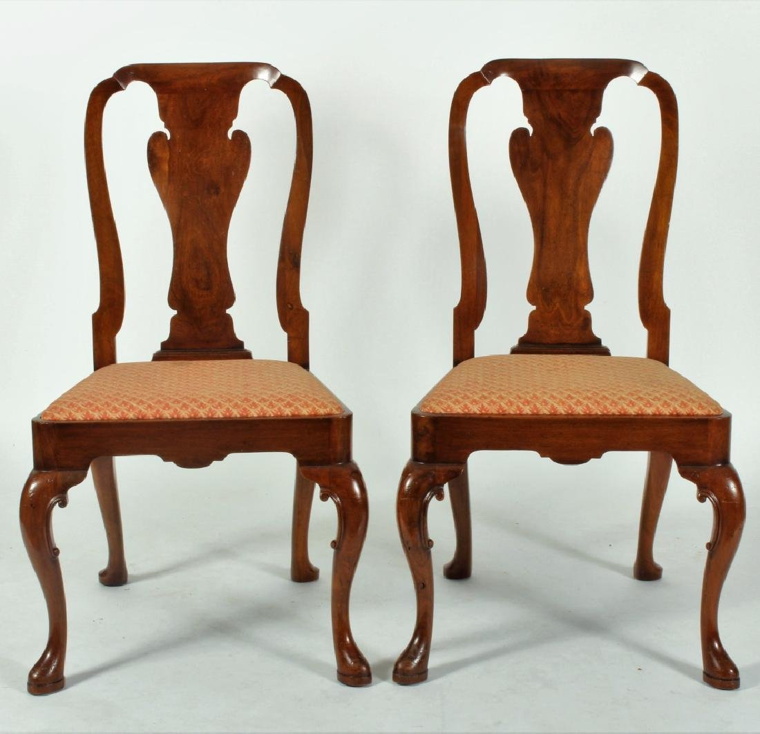 Pair of Queen Anne Style Chairs with Fitted Seats