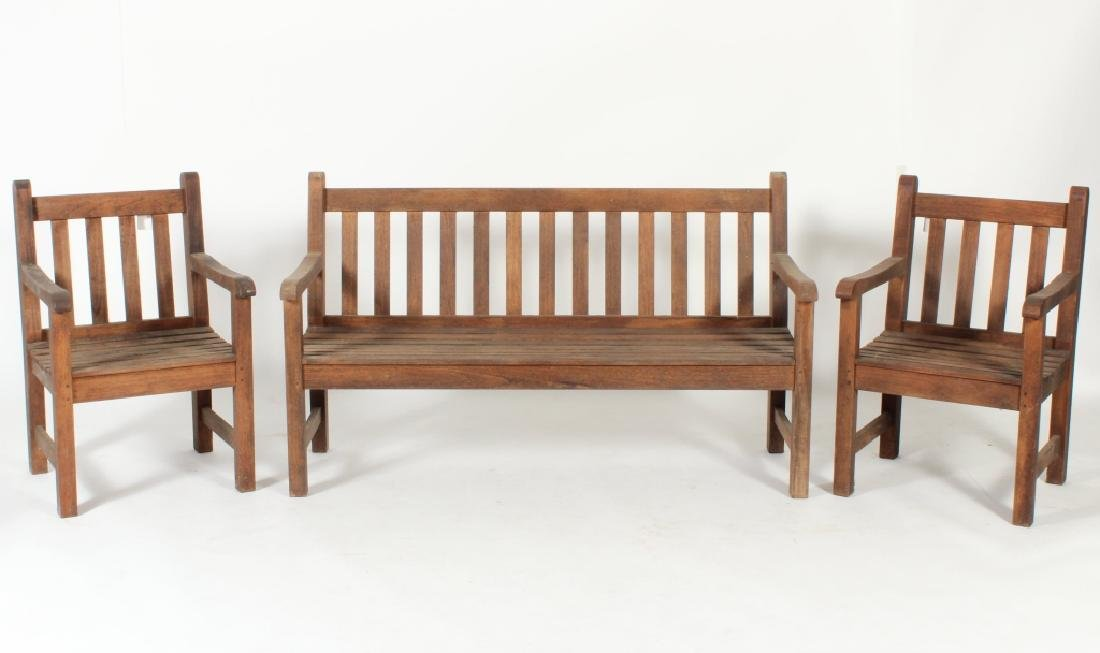 "Barlow Tyrie ""Felsted"" Bench, Pair of  Armchairs"