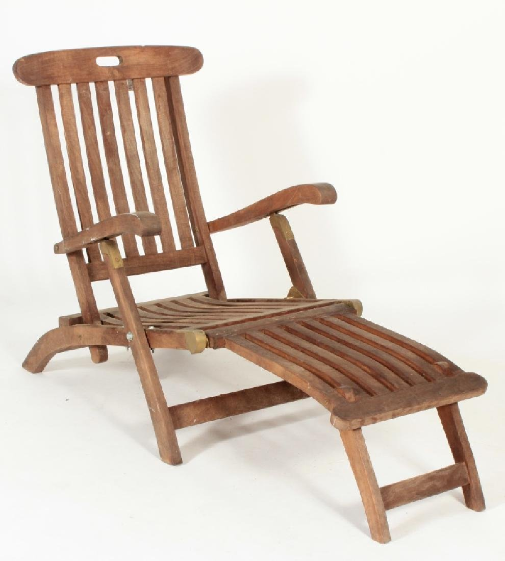 Teak Commodore Steamer Chair, labeled Andrew